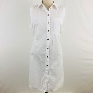 Maeve White Button Down Side Slit Sleeveless Tunic